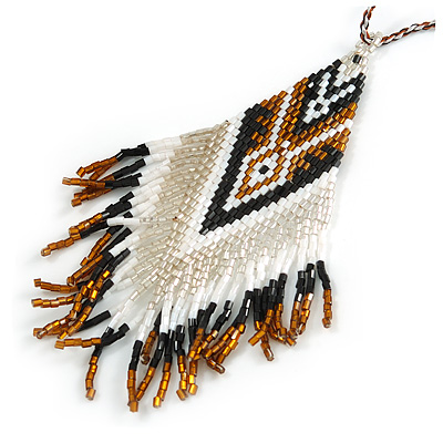 Bronze/ Black/ White Glass Bead Geometric Pattern Pendant with Long Cotton Cord - 80cm Long - main view