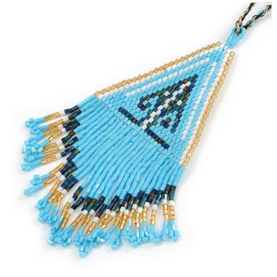 Light Blue/ Gold/ White Glass Bead Geometric Pattern Pendant with Long Cotton Cord - 80cm Long