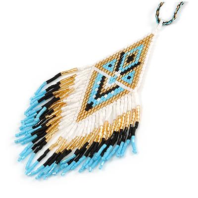 Blue/ Black/ White/ Gold Glass Bead Geometric Pattern Pendant with Long Cotton Cord - 80cm Long