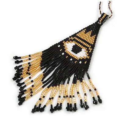Black/ White/ Gold Glass Bead 'Third Eye' Pattern Pendant with Long Cotton Cord - 80cm Long