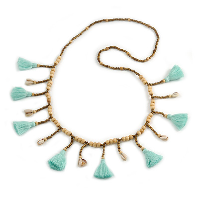 Long Natural Wood, Bronze Glass Bead with Mint Green Cotton Tassel Necklace - 100cm L