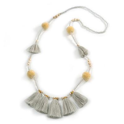 Boho Style Glass Beaded Pom Pom, Tassel Long Necklace In Light Grey - 90cm L - main view