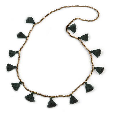 Boho Style Bronze Glass Bead with Dark Green Cotton Tassel Long Necklace - 96cm L