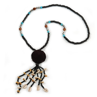 Black Wood, Glass, Sea Shell, Tree Seed Bead with Pom Pom Tassel Long Necklace - 80cm L/ 16cm Tassel