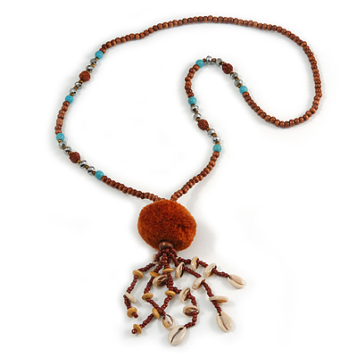 Brown Wood, Glass, Sea Shell, Tree Seed Bead with Pom Pom Tassel Long Necklace - 80cm L/ 16cm Tassel