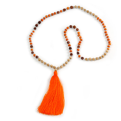 Long Wood, Glass, Seed Beaded Necklace with Silk Tassel (Nude, Orange, Brown) - 80cm L/ 11cm Tassel - main view