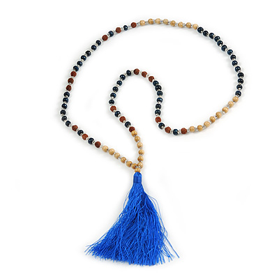Long Wood, Glass, Seed Beaded Necklace with Silk Tassel (Nude, Blue, Brown) - 80cm L/ 11cm Tassel