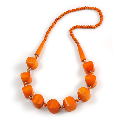 Chunky Wood Bead Necklace In Orange - 68cm L
