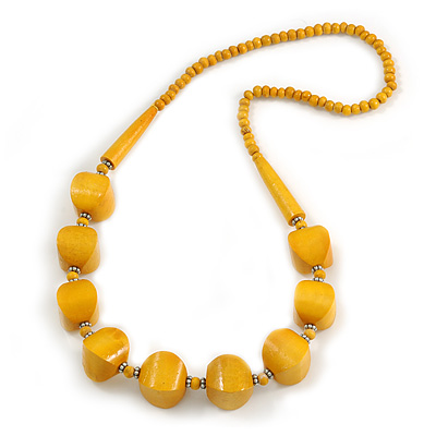 Chunky Wood Bead Necklace In Dusty Yellow - 76cm L