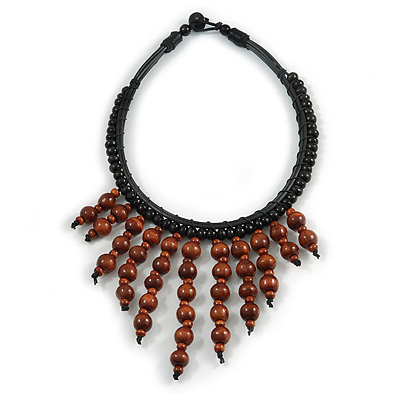 Statement Brown Wood Bead Fringe with Rubber Cord Necklace - 46cm L/ 11cm Front Drop