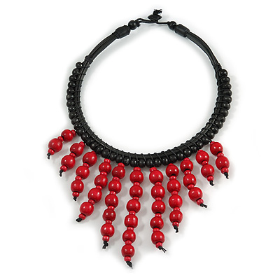 Statement Cherry Red Wood Bead Fringe with Rubber Cord Necklace - 46cm L/ 11cm Front Drop