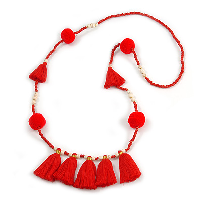 Boho Style Glass Beaded Pom Pom, Tassel Long Necklace In Red - 90cm L - main view