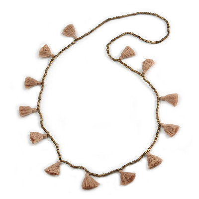 Boho Style Bronze Glass Bead with Taupe Tassel Long Necklace - 96cm L