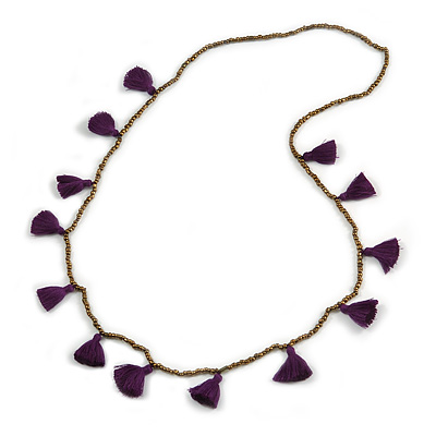 Boho Style Bronze Glass Bead with Purple Cotton Tassel Long Necklace - 96cm L