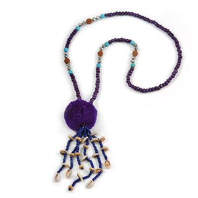 Inky Blue Wood, Glass, Sea Shell, Tree Seed Bead with Pom Pom Tassel Long Necklace - 80cm L/ 16cm Tassel