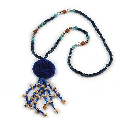 Dark Blue Wood, Glass, Sea Shell, Tree Seed Bead with Pom Pom Tassel Long Necklace - 80cm L/ 16cm Tassel - main view