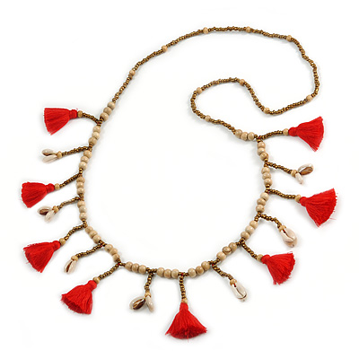 Long Natural Wood, Bronze Glass Bead with Red Cotton Tassel Necklace - 100cm L