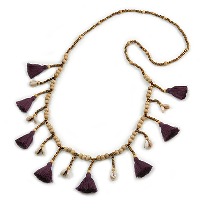 Long Natural Wood, Bronze Glass Bead with Purple Cotton Tassel Necklace - 100cm L