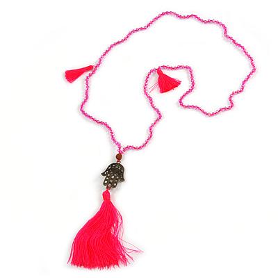 Deep Pink Crystal Bead Necklace with Bronze Tone Hamsa Hand Charm/ Silk Tassel Pendant - 80cm L/ 14cm Tassel