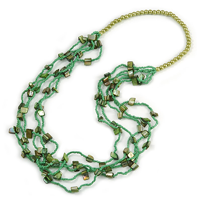 Long Multistrand Light Green/ Grass Green Shell/ Glass Bead Necklace - 76cm L