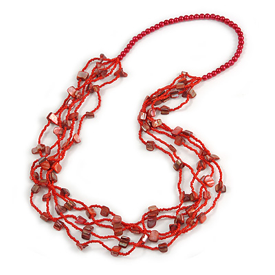 Long Multistrand Red Shell/ Glass Bead Necklace - 76cm L - main view