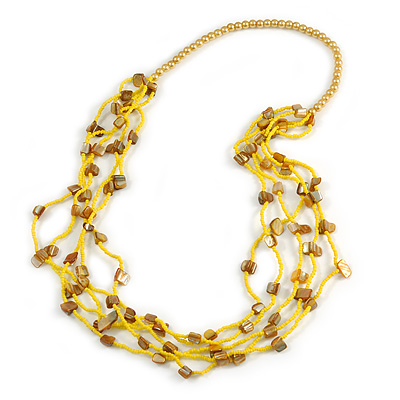 Long Multistrand Yellow Shell/ Glass Bead Necklace - 76cm L