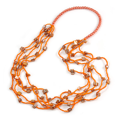 Long Multistrand Orange Shell/ Glass Bead Necklace - 76cm L - main view