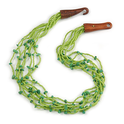 Ethnic Lime Green Glass Bead, Semiprecious Stone Necklace With Wood Hook Closure - 60cm L