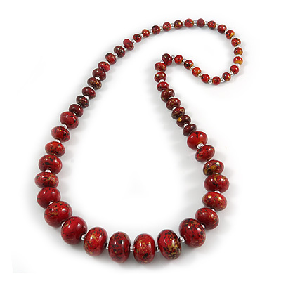 Long Graduated Wooden Bead Colour Fusion Necklace (Red/ Black/ Gold) - 70cm Long