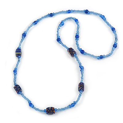 Blue Glass/ Ceramic Bead Long Necklace - 84cm Long
