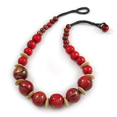 Chunky Colour Fusion Wood Bead Necklace (Red, Gold, Black) - 48cm Long