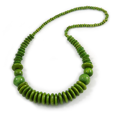 Lime Green Wood Bead Necklace - 66cm Long