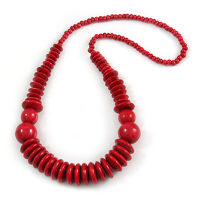 Red Wood Bead Necklace - 70m Long