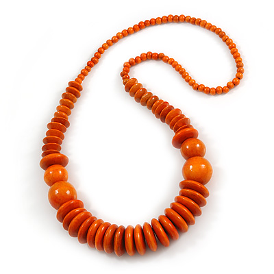 Orange Wood Bead Necklace - 68cm Long