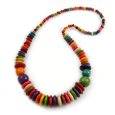 Multicoloured Button and Round Wood Bead Necklace - 70cm Long