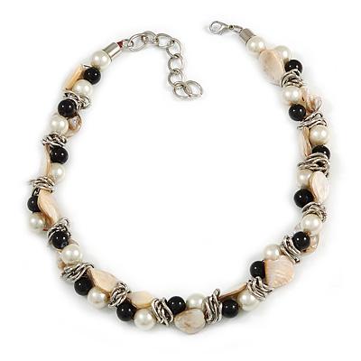 Exquisite Cream/ Black Faux Pearl & Antique White Shell Composite, Silver Tone Link Necklace - 44cm L/ 7cm Ext - main view
