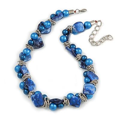 Exquisite Faux Pearl & Shell Composite Silver Tone Link Necklace In Blue - 44cm L/ 7cm Ext