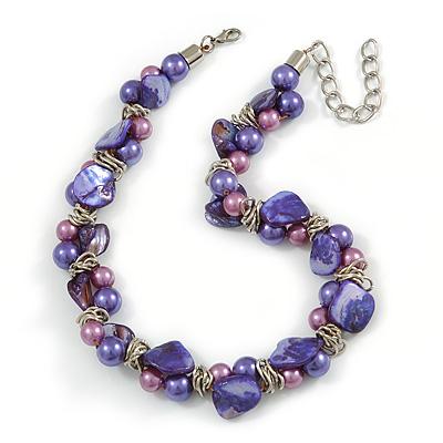 Exquisite Faux Pearl & Shell Composite Silver Tone Link Necklace In Purple - 44cm L/ 7cm Ext - main view