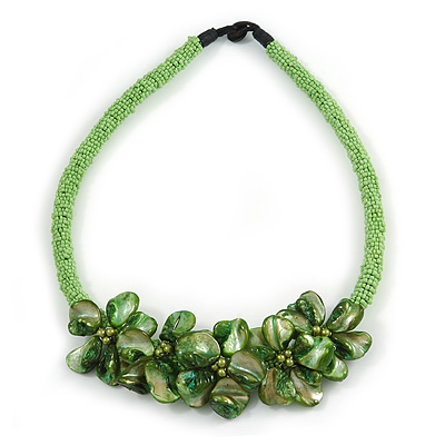 Stunning Lime Green Glass Bead with Forest Green Shell Floral Motif Necklace - 48cm Long