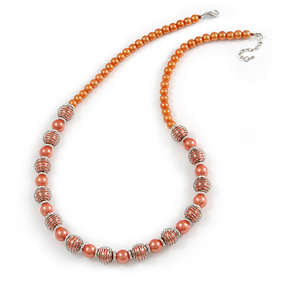 Peach Orange Glass Bead with Silver Tone Metal Wire Element Necklace - 64cm L/ 4cm Ext - main view