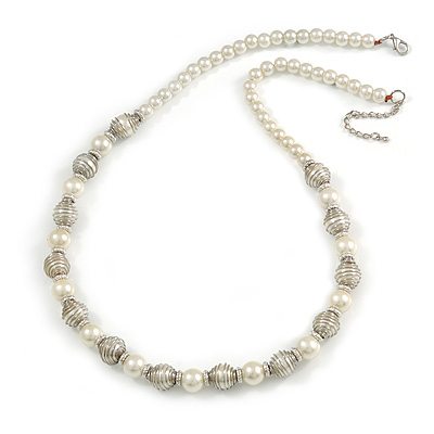 Cream Glass Bead with Silver Tone Metal Wire Element Necklace - 64cm L/ 4cm Ext - main view