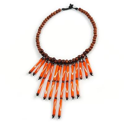 Statement Brown Wood Bead with Orange Bone Bib Necklace - 46cm L/ 14cm Front Drop