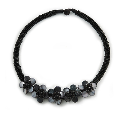 Black Glass Bead with Shell Floral Motif Necklace - 48cm Long - main view