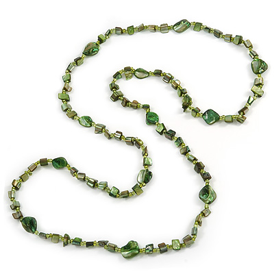 Long Green Glass Bead, Sea Shell Nugget Necklace - 116cm L