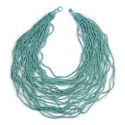 Chunky Dusty Light Blue Glass Bead Bib Multistrand Layered Necklace - 80cm L