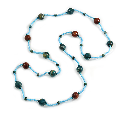 Statement Light Blue Glass Bead with Brown/ Teal Wood Ball Long Necklace - 145cm L