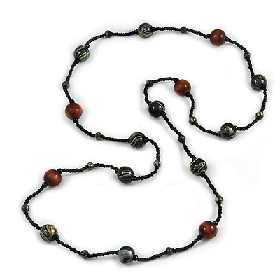 Statement Black Glass Bead with Brown/ Black Wood Ball Long Necklace - 145cm L