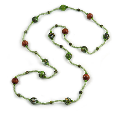 Statement Light Green Glass Bead with Brown/ Green Wood Ball Long Necklace - 145cm L - main view