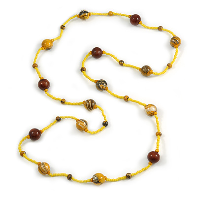 Statement Yellow Glass Bead with Brown Wood Ball Long Necklace - 145cm L - main view