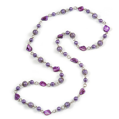 Long Glass and Shell Bead with Silver Tone Metal Wire Element Necklace In Purple - 120cm L - main view